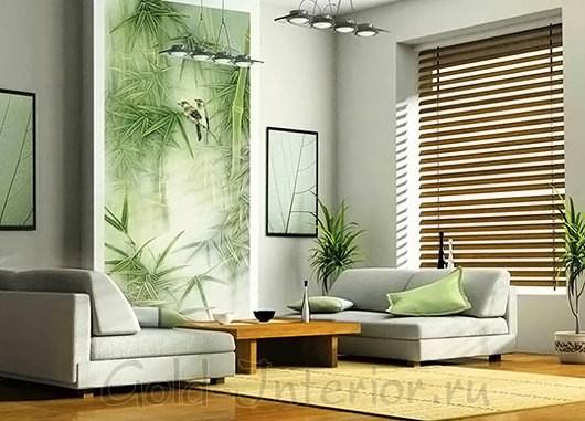 Интерьер комнаты в минималистичном стиле с применением материалов из бамбука