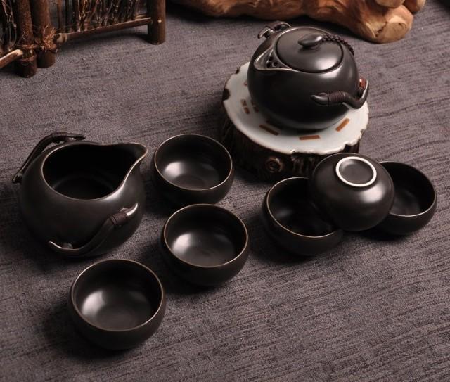 Черный чайный сервиз на 6 человек из фарфора «Чёрная жемчужина». Вид сверху.