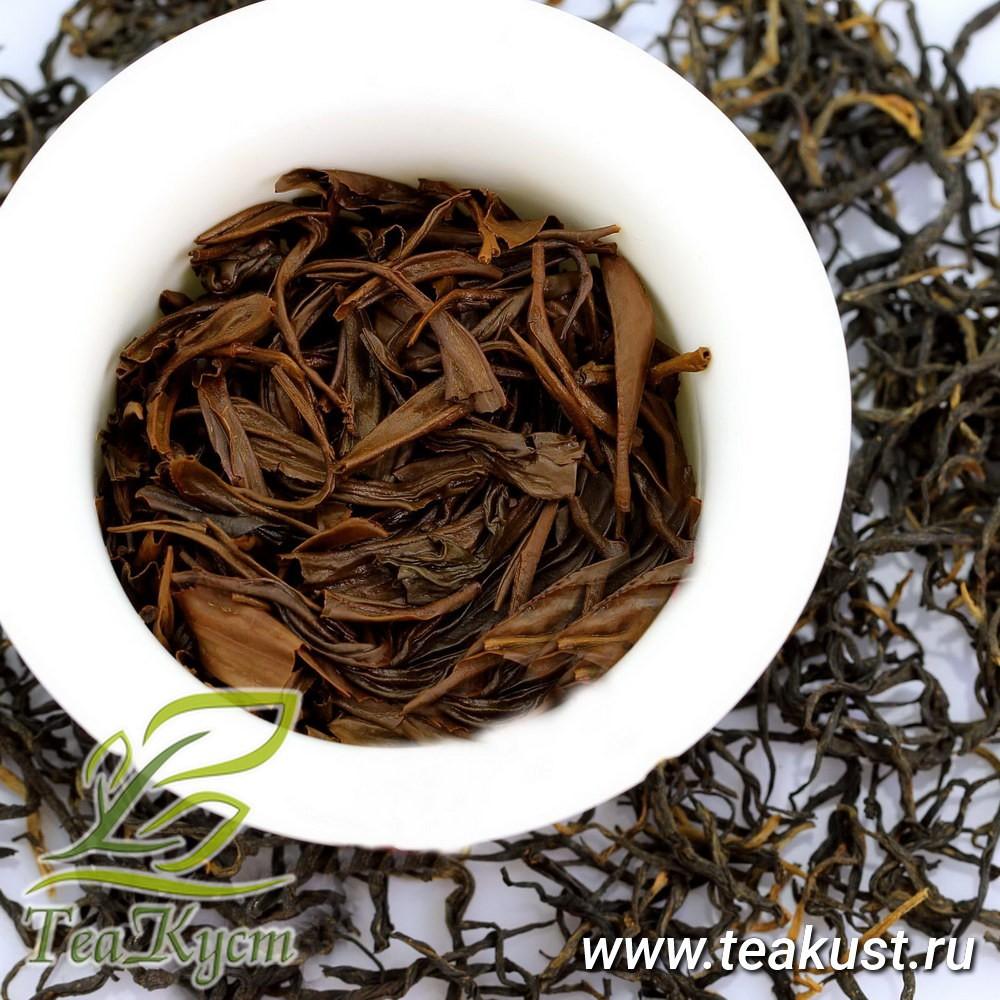 Листья заваренного чая Дянь Хун