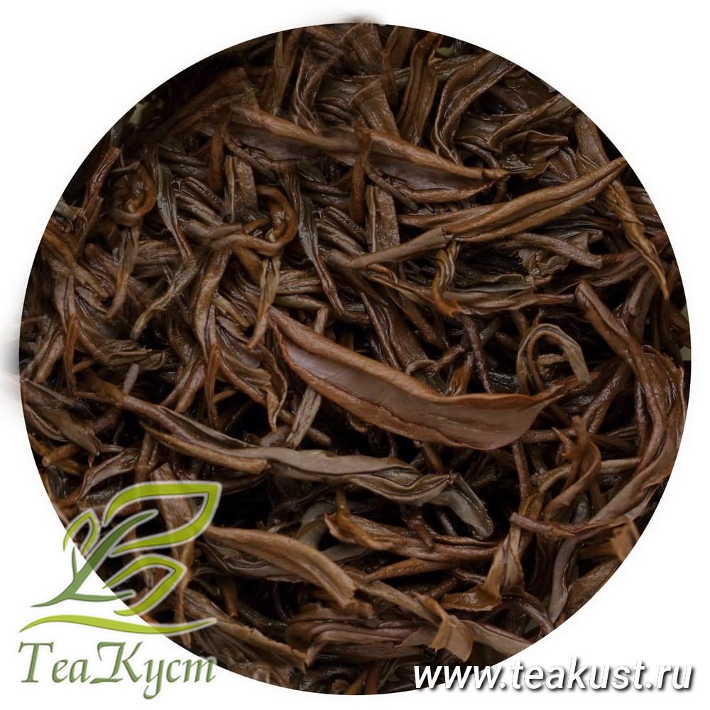 Раскрывшиеся листья чая Цзинь Цзюнь Мэй (Золотые брови)