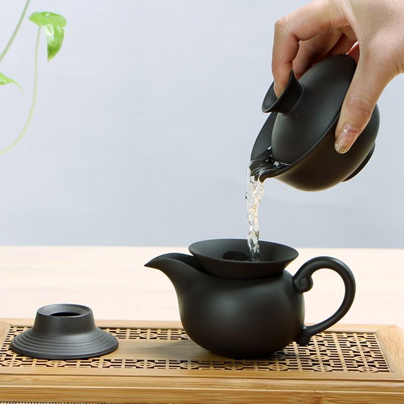 Китайский чайный сервиз из чёрной глины (3)