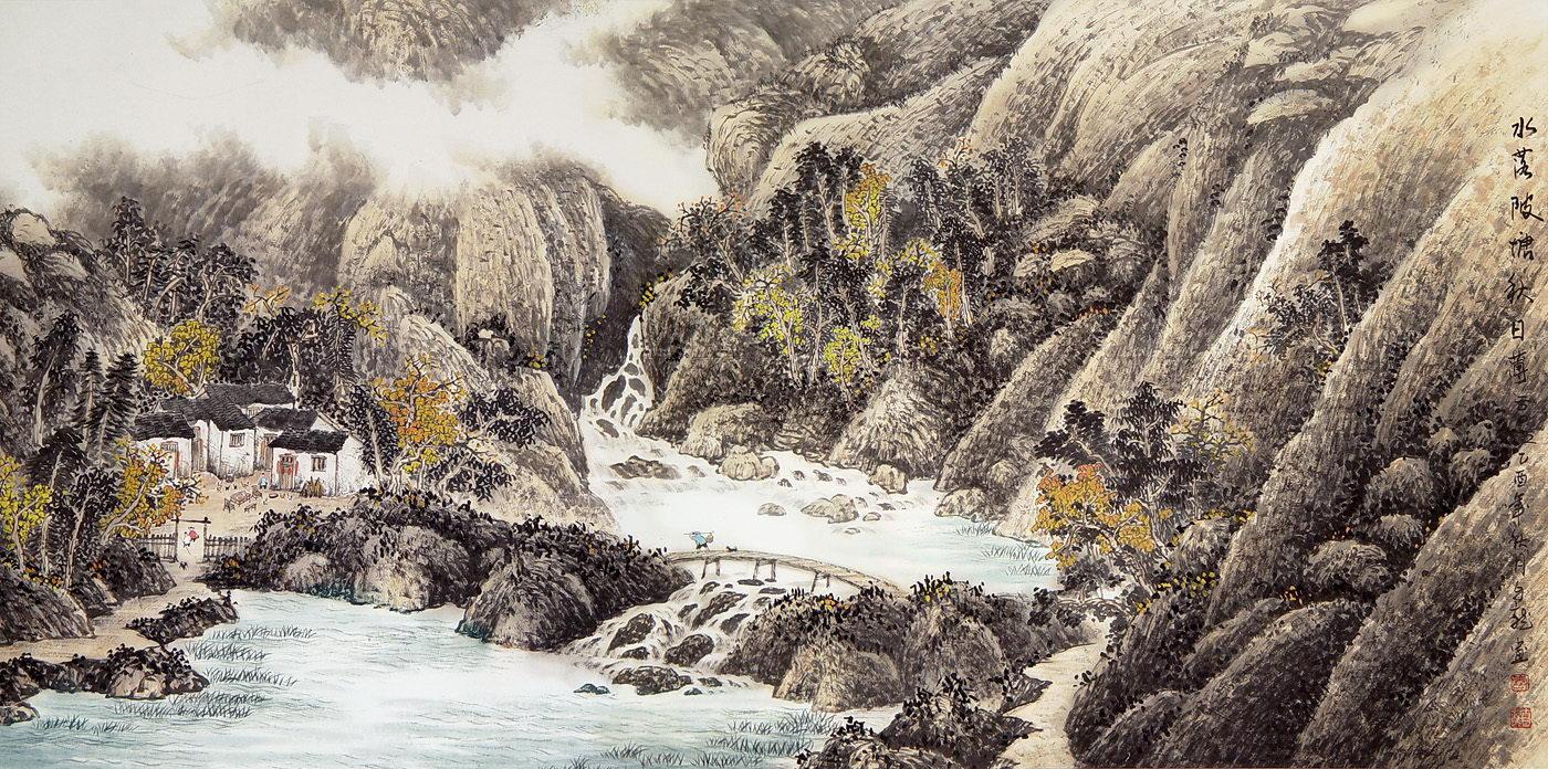 Осенние горы вблизи пруда