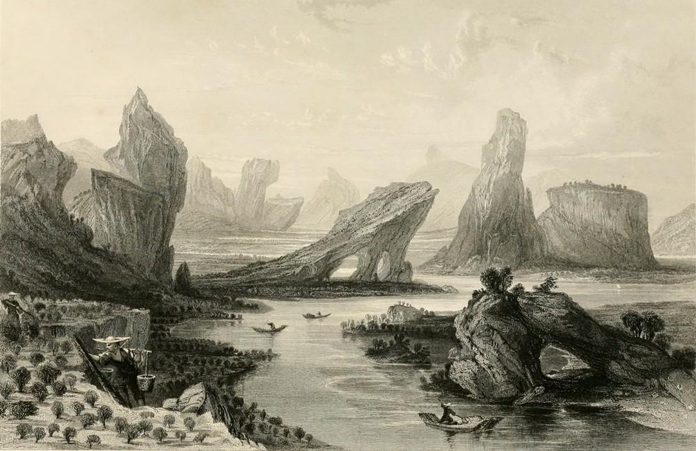Чайные утёсы Уишань. Картина Томаса Аллома, 1843 год.