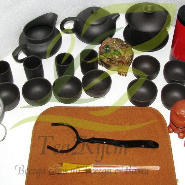 Полная комплектация . Чёрный набор посуды кунг-фу ча из исинской глины
