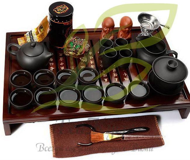 Чёрный набор посуды кунг-фу ча из исинской глины станет отличным подарком