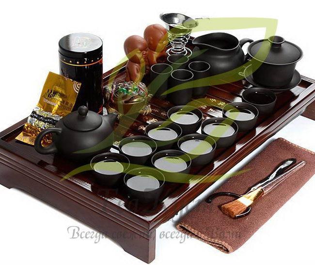 Чёрный набор посуды кунг-фу ча из исинской глины (без доски)