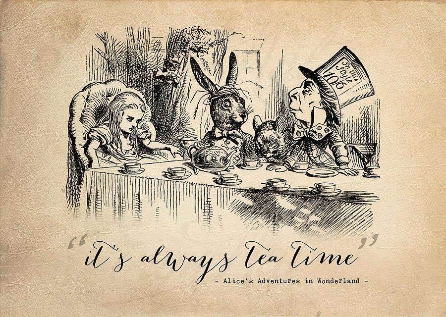 Английское чаепитие является одним из ключевых событий Алисы в стране чудес.