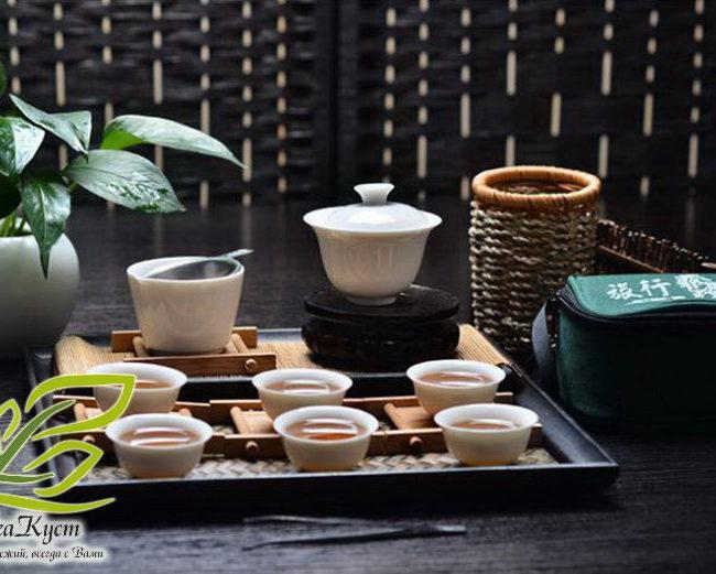 Целый Походный набор для чаепития в китайском стиле помещается в одну зелёную сумочку
