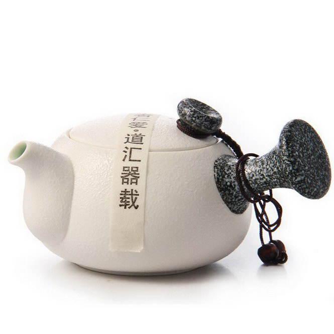 Чайник с боковой ручкой «Кюсу» (Снежная Глазурь)