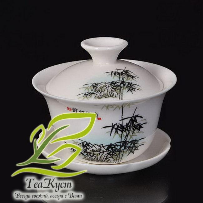 """Белый Сервиз из фарфора с рисунком в Китайском стиле """"Бамбуковая Роща"""" гайвань"""