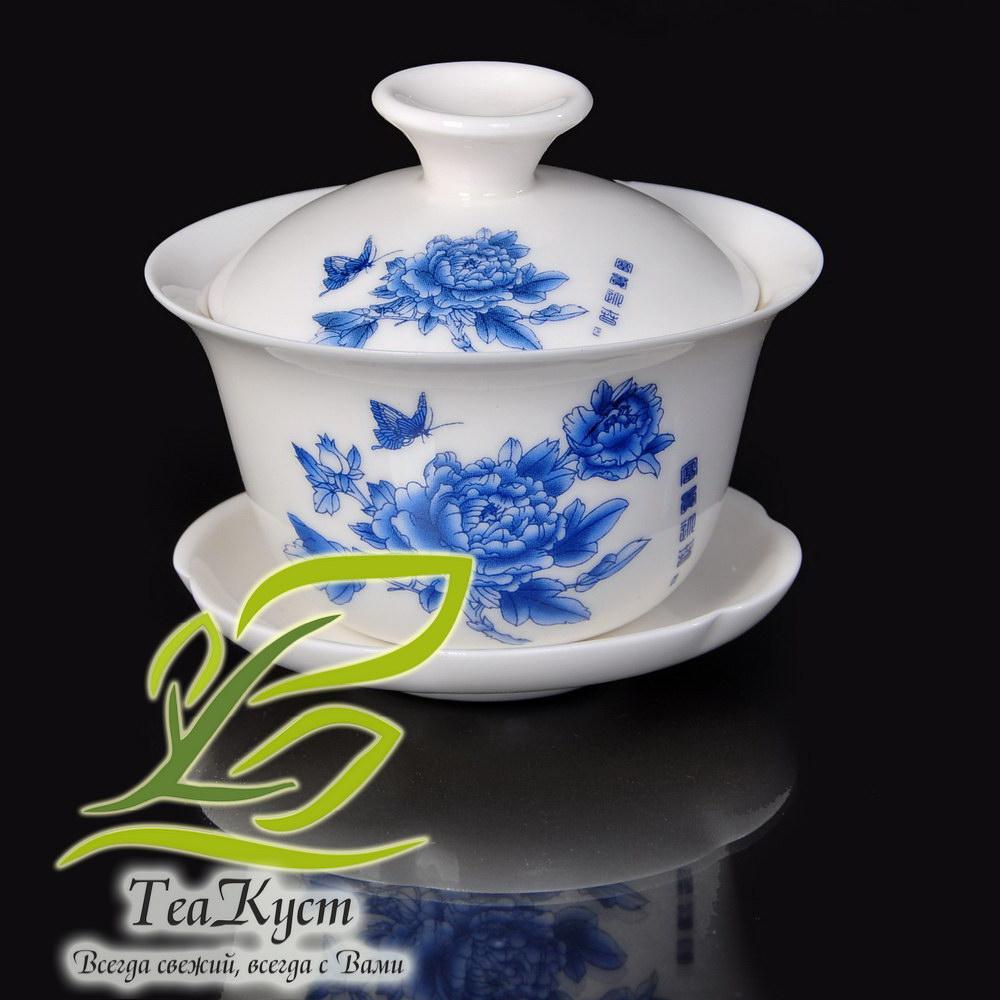 Чайный сервиз «Синяя Хризантема» в Китайском стиле (Белый, Фарфор, 8 персон, 11 предметов)