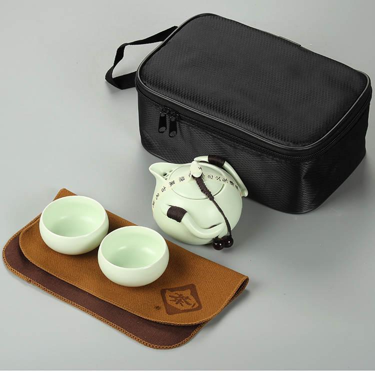 Чайный сервиз «Нефритовый император» в Восточном стиле (Зелёный, Фарфор, 2 персоны, 3 предмета, Сумка)