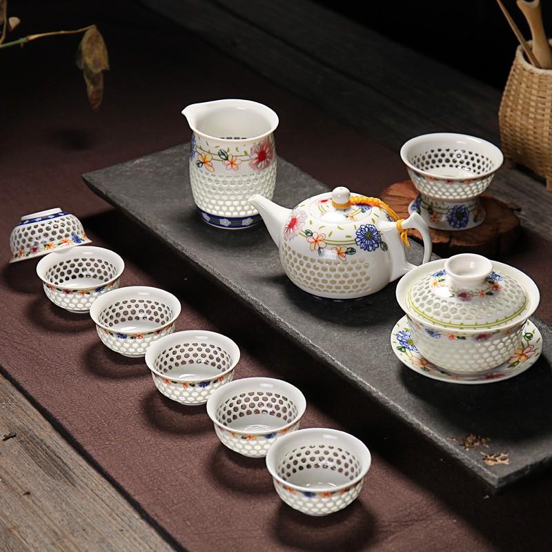 Чайный сервиз «Медовые соты» (Белый, Рисовый фарфор, 6 персон, 10 предметов)