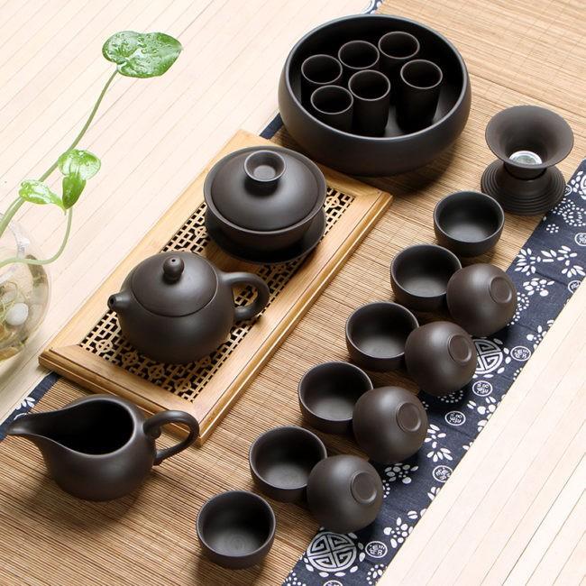Китайский чайный сервиз из настоящей чёрной глины