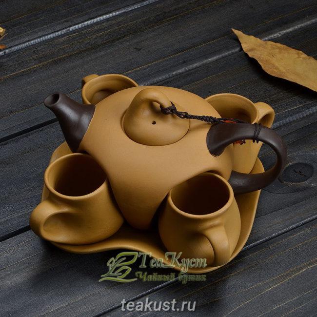 Весь набор из коричневой глины смотрится очень гармонично (Чайный сервиз Высокогорная Богиня)