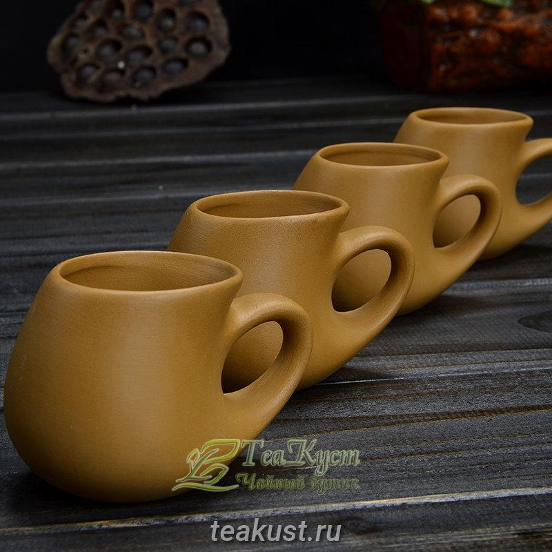 Чашки из коричневой глины (Чайный сервиз Высокогорная Богиня)