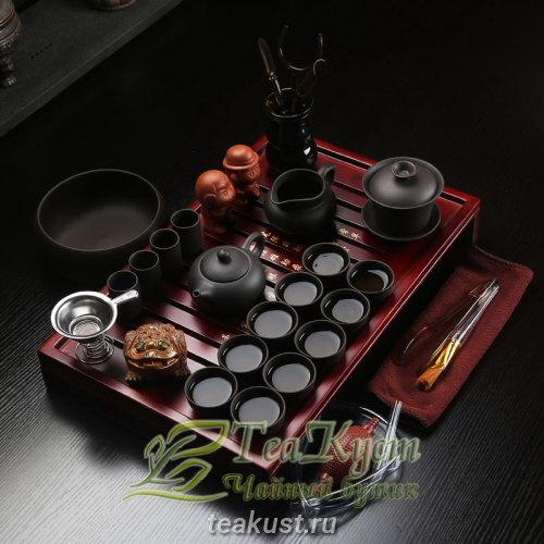 Чайный набор из глины Император Династии Мин (Чёрный цвет)