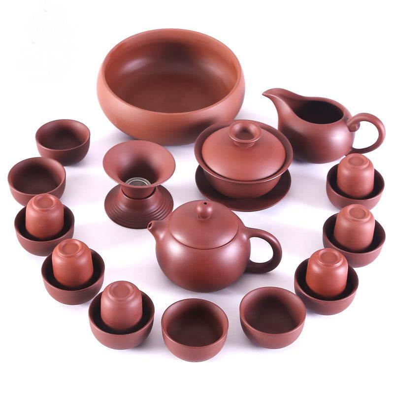 Чайный сервиз Цинь Шихуанди - Коричневый Полный набор на белом фоне